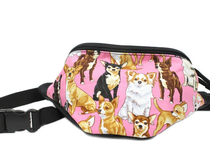 Adorable Chihuahua Pink Dog fabric - Cute Fanny Pack - Hip Waist Bag - 2 Zippers