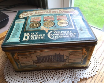 Vintage Public Benefit Boot Company Advertising Tin 1930 Era