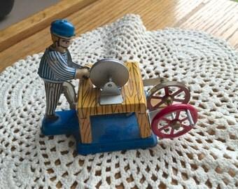 Toy Tin Lithograph Hand Turn Wood Worker Machine Toy 1980 Era