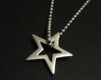 Sterling Silver Lucky Star Charm Pendant on Chain