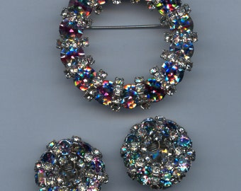 1950's Set with Iris Rhinestones-Beautiful!