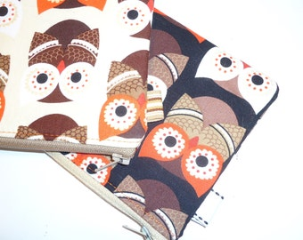 Padded Zip Kawaii Pouches / 2 Pack Owls Coin Purses / Woodland Cosmetic Cases / Small Wallets / Forest Gift Set / Handbag Organizers
