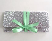 Silver and mint sequin clutch // bridesmaid clutch // wedding bags // the ALEXIS envelope bow clutch
