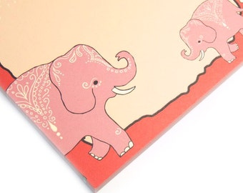 Cute notepad mehndi elephants - coral and vanilla elephant print note pad - swirly exotic paisley notepad - notes and lists