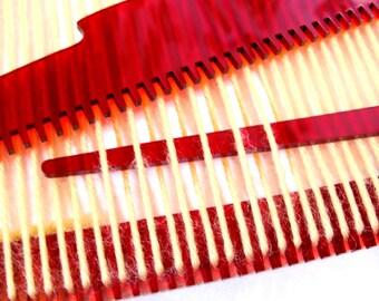 Weaving Loom Kit, Beginner, DIY, Learn to Weave, RED Acrylic