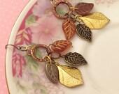 Mixed Metal Earrings, Leaf Earrings, Woodland Earrings, Czech Glass Leaf Earrings, Gold Copper, Fall Earrings, Handmade By KreatedByKelly