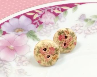 Wood Stud Earrings, Pink Flower Earrings, Natural Wood Button Stud Earring Floral Pink Design, Pink Cottage Rose Studs, KreatedByKelly (SE5)