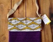 Daniela. Purple and Mustard. Large fold over crossbody messenger bag with front pocket. Adjustable strap and size.