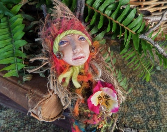 ARTIST SALE, Handcrafted Art Doll, Mixed Media, Nature Spirit, Rustic home decor, kitchen witch doll, Bohemian art doll, Cottage chic decor,