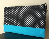 Oversized Zipper Clutch - Aqua Blue and Black Polka Dot