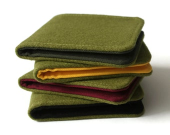 SALE Mens Wallet / Super Thin Minimalist Billfold Wallet / Olive Green Wool / Non-Leather Wallet