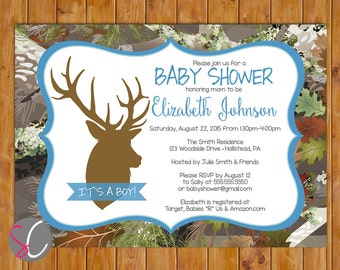 Buck Camo Invite Oak Camouflage Boy Baby Shower Light Blue Brown Deer Silhouette Invitation Hunting Digital JPG 5x7 (479)