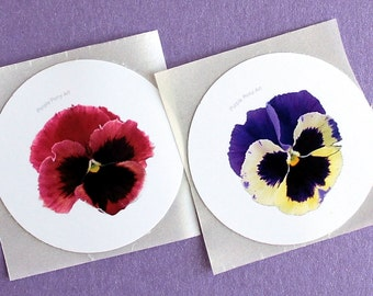 Printable Pansy Stickers - Floral Instant Download, DIY Stickers, Digital Download Round Sticker, Printable Stickers PDF, Flowers Stickers