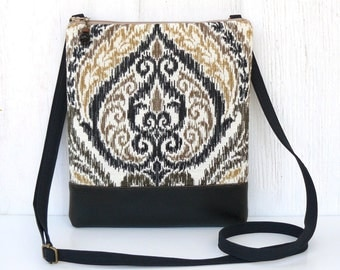 Damask Crossbody Purse, Sling Bag, Ikat Cross Body Bag - Basaltic in Black, Gold and Cream