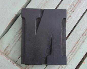 Antique Letterpress Wood Type Printers Block Letter N