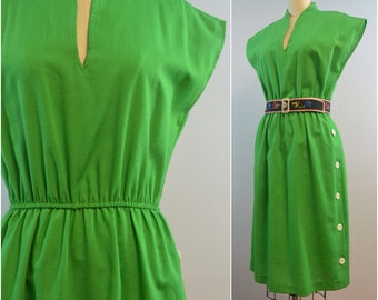 Bright Green Stand Up Collar Dress by Periwinkle | 70s 80s Vintage Dress