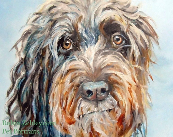 "Wire Haired Pointing Griffon Custom Pet Portrait Oil Painting, 8 x 10"" Gift Certificate"