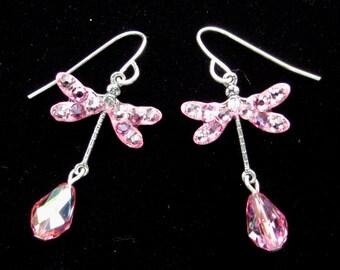 Pink Crystal Dragonfly Earrings