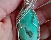 Gorgeous Green Chrysoprase Pendant with Druzy Sterling Wire Wrapped