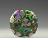 Garden Party Handmade Lampwork Glass Lentil Focal by Pam Brisse aka The Blue Between