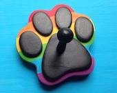 Dog Leash Holder RAINBOW Paw Pride - Wood Paw Print Peg Hook