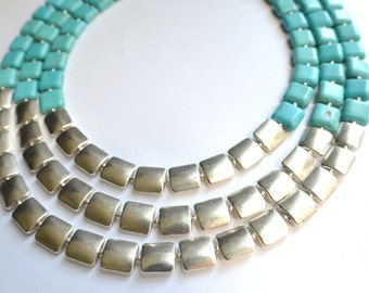 The Amber- Turquoise Howlite and Silver Statement Necklace
