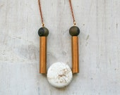 New Moon Necklace / Geometric Necklace / Statement Necklace / Druzy / Gift