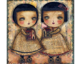 Nomads - Surreal Giclee print reproduction of original mixed media girls with a house on wheels painted by Danita Art