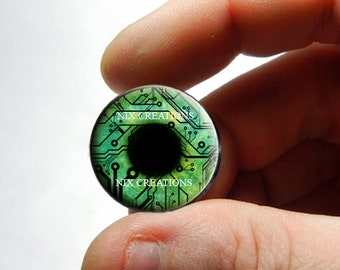 Glass Eyes - Green Circuit Board Human Doll Taxidermy Eyes Handmade Glass Cabochons - Pair or Single - You Choose Size