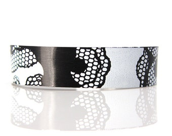 Recycled Vinyl Record Bracelet with Lace Pattern Design