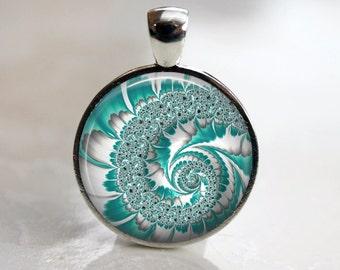 Aqua Swirl Fractal Pendant, Necklace or Key Chain - Choice of 4 Bezel Colors