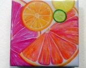 Citrus Fruit Teeny Tile Magnet, square tile magnet 2 inches by 2 inches, Lime, lemon, grapefruit