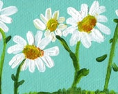 White Shasta Daisy Painting, mini canvas, mini easel, acrylics miniature painting, Daisies Painting, acrylic painting, small painting, mini