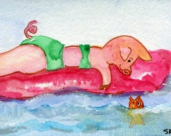 ACEO Original Pig painting Art Card, Whimsical pig art, miniature painting, watercolors paintings original, girl pig on float, fish, ocean
