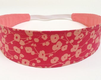 Headband For Women, Adult Headband Women, Reversible Fabric Headband -  Tangerine & Coral Floral Print - LAUREN CORAL