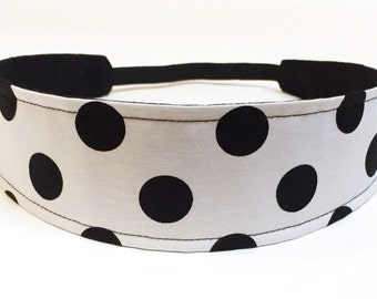 Headband for Women  -  Black, White, Polka Dots  -  Reversible Fabric Headband - BLACK & WHITE DOTS