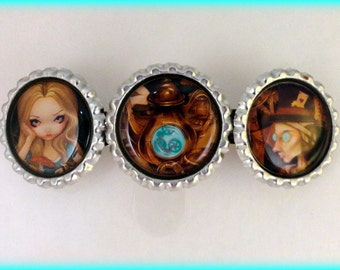 """Jasmine Becket Griffith  """" Alice and the Mad Hatter """"  hair barrette"""