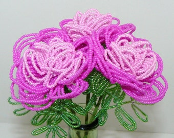 French Beaded Flowers Peonies in Double Pink