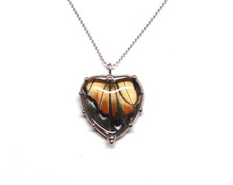 Tiger Swallowtail Butterfly Heart  Necklace - Beautiful Yellow Butterfly - Medium Size Heart