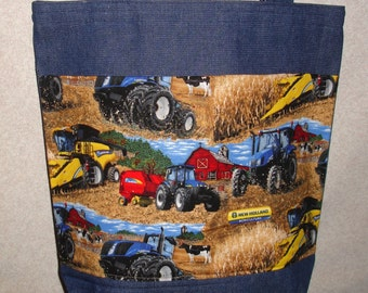 New Large Denim Tote Bag Handmade with New Holland Tractors Farm Fabric