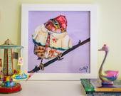 "Bird Print, Bird Nursery Decor, Bird Illustration, Nursery Art Print, 12x12"""