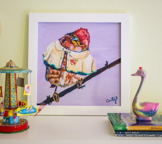 "Bird Print, Bird Nursery Decor, Bird Illustration, Nursery Art Print, 8x8"""