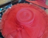 Vintage 1950s Straw Hat Red Saucer Cartwheel New Look Dior Style 2015418J81