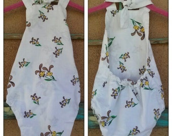 Vintage 1960s Baby Playsuit Novelty Print Sunsuit Romper 4 6 months 2015310