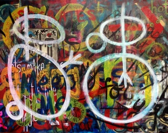 Original Art Graffiti Large Painting Collaboration Colorful Bright Bold Graphic Relationships Couple Unframed