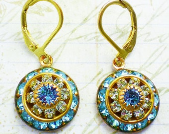 Aqua Green Rhinestone Earrings Swarovski Chrysolite Aquamarine Rhinestone Beveled Rondelle Disk Drop Earrings Bridesmaid Jewelry