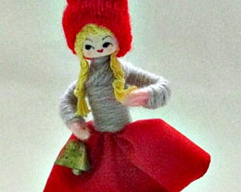 Vintage Dutch Girl Yarn Doll