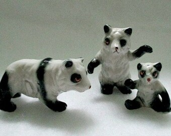 Vintage Miniature Figurines - Mini China Panda Bear Family - Miniature Figures Supply