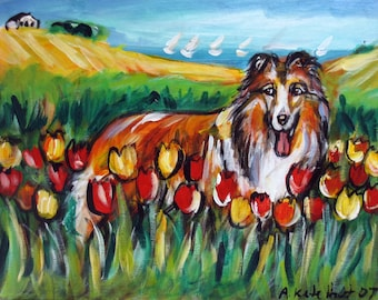 Cute Collie tulips art original dog painting