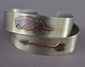 Arrow and Feather Cuff Bracelets
